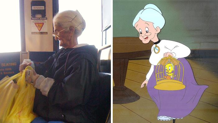 cosas que se parecen a otras, anciana que es igual que a la de las caricaturas de silvestre y piol