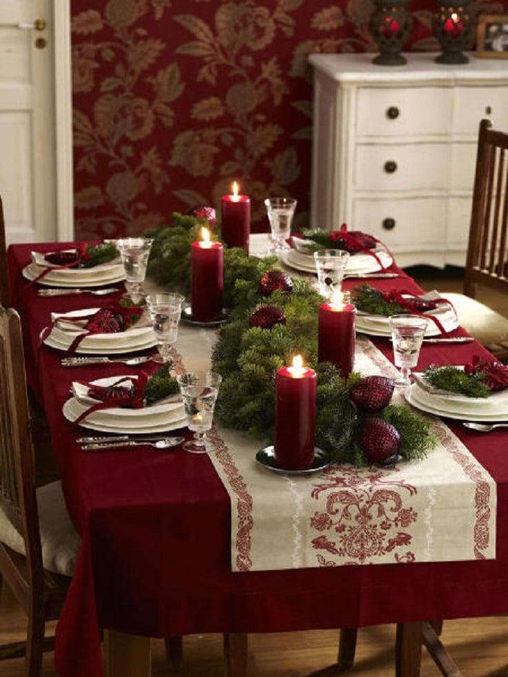 decoracin de mesa con velas en color rojo
