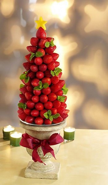 Árbol de centro de mesa con fresas
