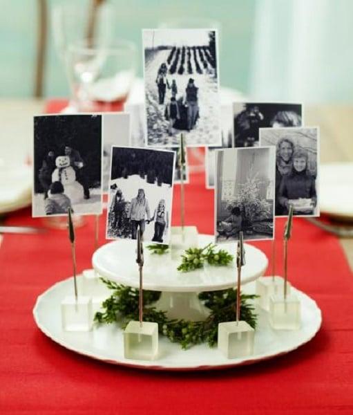 centro de mesa para navidad con fotografias