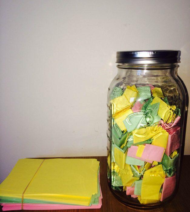 notas de colores para frasco