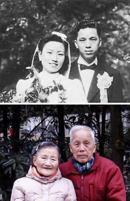 Cao Yuehua y Wang Deyi antes y después