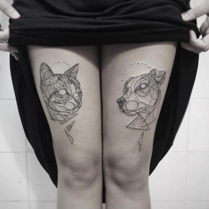 Tatuaje Perro y gato minimalista