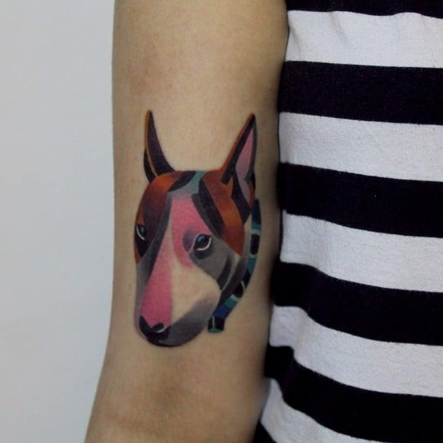 Tatuaje perro cara de mula a colores