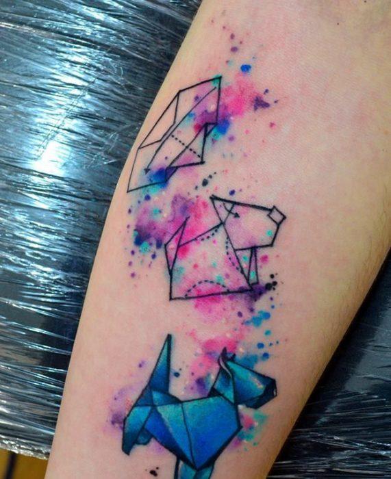 Tatuaje terrier escoces en acuarela
