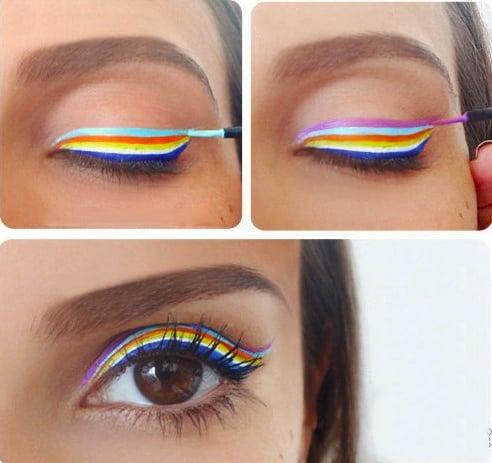 Chica con un delineado de colores del arcoiris