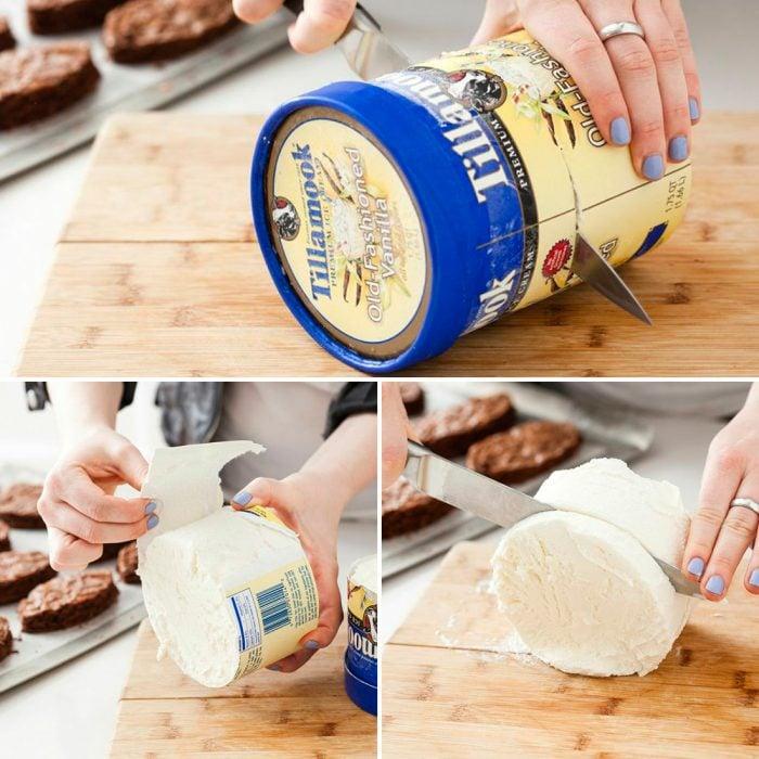 Bote de helado cortado en rebanadas