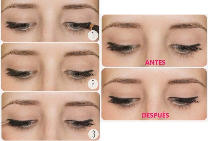 Chica mostrando como aplicarse sombra de ojos sobre el delineado
