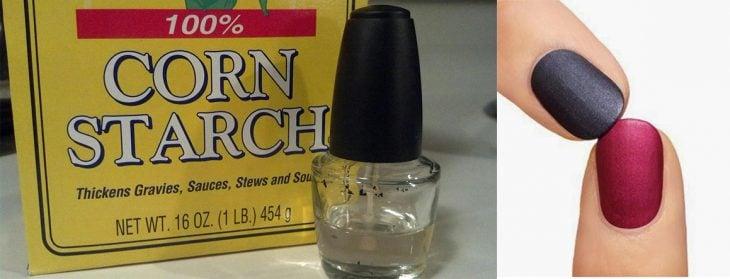 Esmalte con almidón de maíz para efecto mate