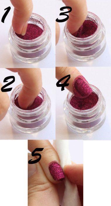 Esmalte de uñas con brillos creado con sombras de ojos