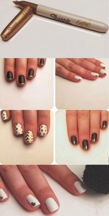 Diseños de uñas con marcadores sharpie