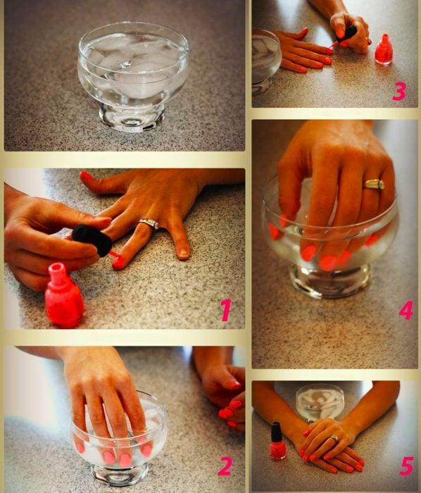 Como secar las uñas con agua helada