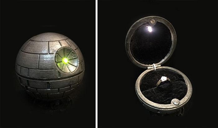anillo de compromiso de la estrella de la muerte de star wars