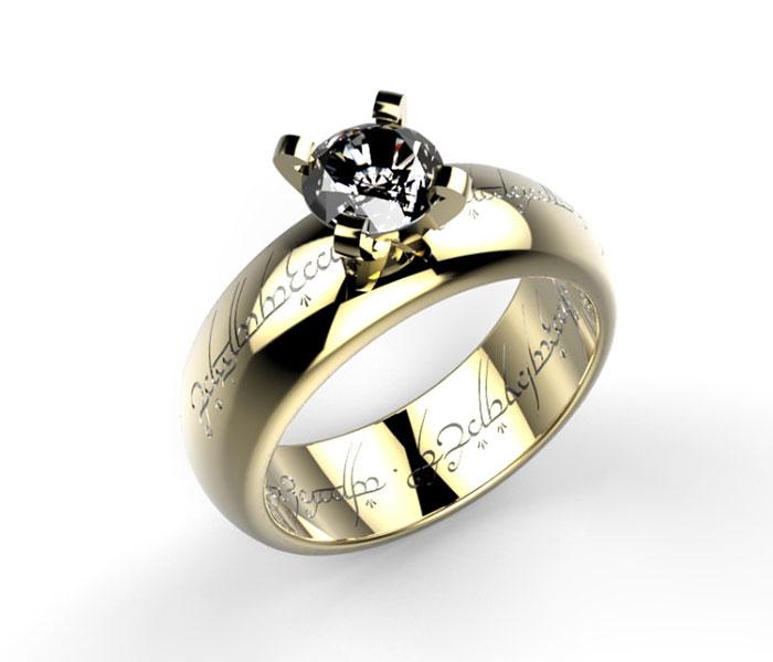 anillo de compromiso geek del señor de los anillos