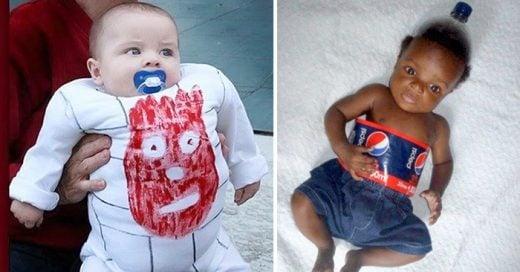 Serie de imágenes de niños con disfraces fallidos