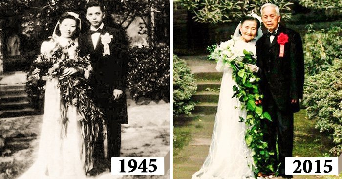 Esposos de 98 años de edad recrean su boda 70 años después