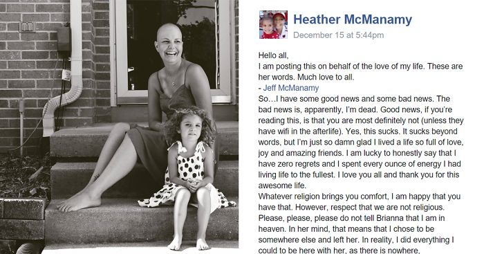 carta en facebook de Heather McManamy