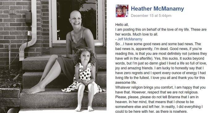 carta en facebook de Heather McManamy