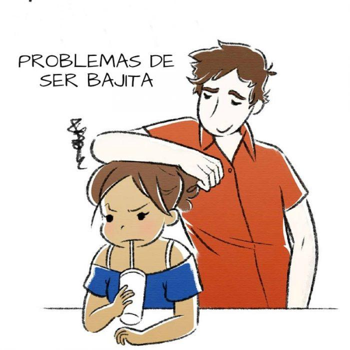 ilustracion chica enojada porque hombre recarga su hombro en su cabeza