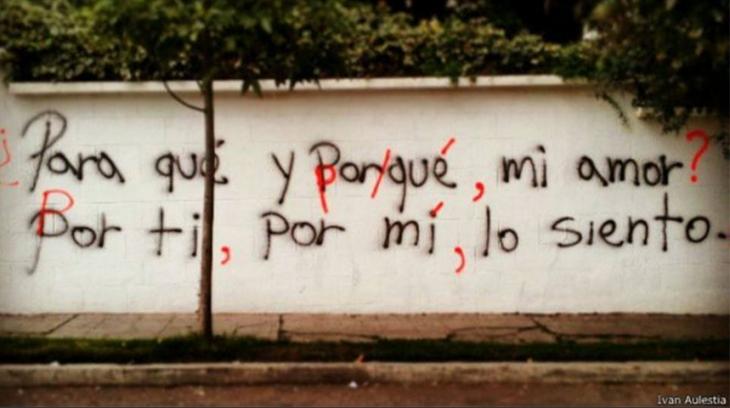 graffiti con faltas de ortografía corregidas
