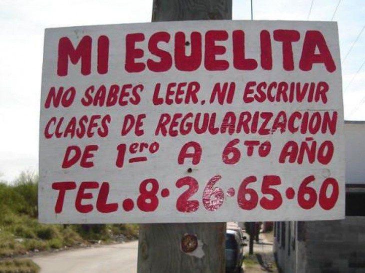 letrero con faltas de ortografía
