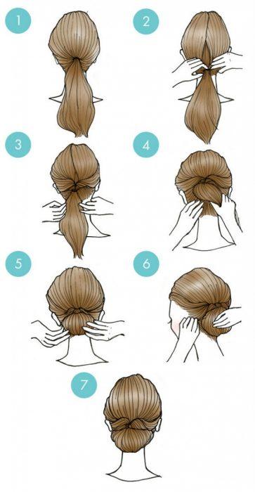 peinado con moño de cabello simple