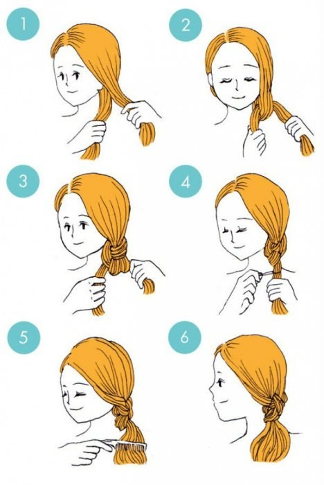 peinado de coleta con nudo doble