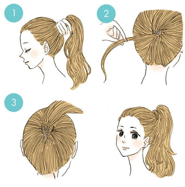 peinado liga de cabello escondida con mechón