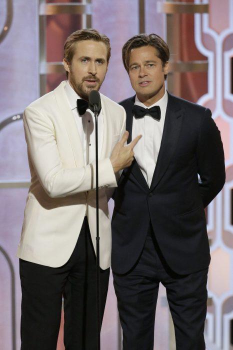 Ryan Gosling y Brad Pitt presentando un premio de los globos de oro