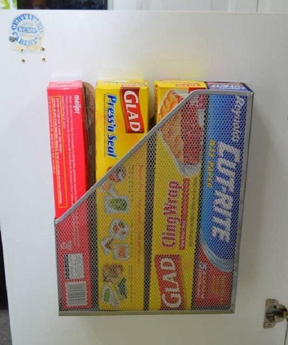 revistero metálico paquetes de bolsas y papel de aluminio