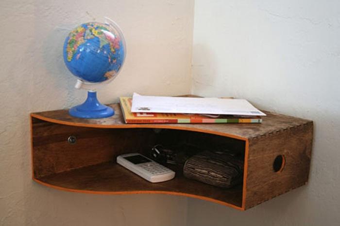 archivero de madera como esquinero