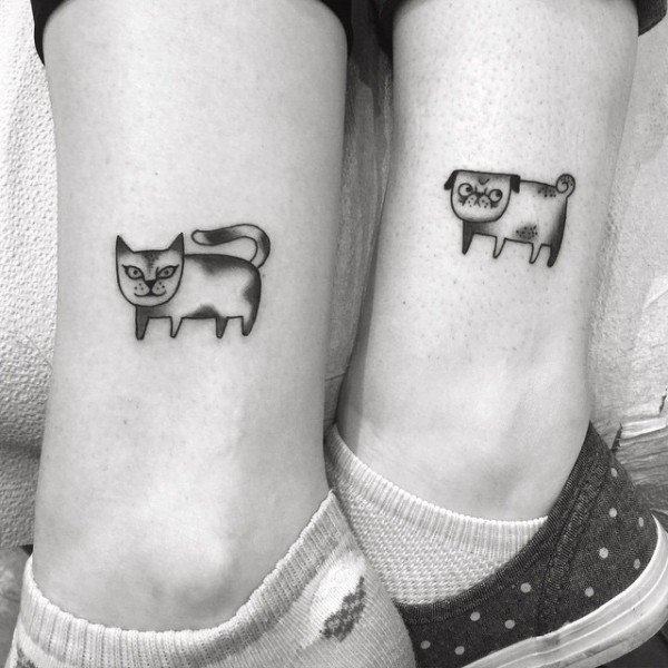 tatuajes perro y gato
