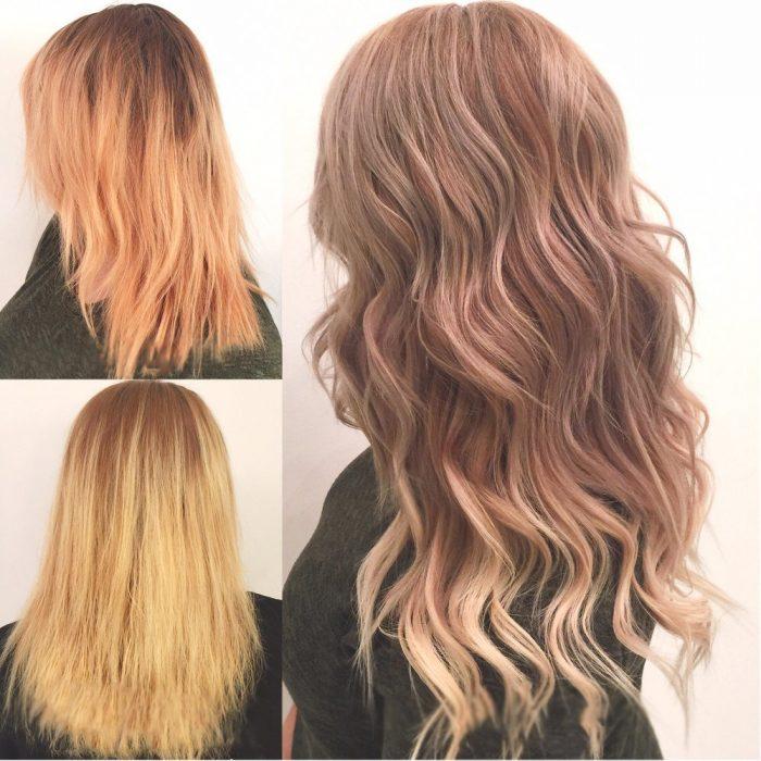Chica antes y después de una transformación en su cabello de lacio a chino