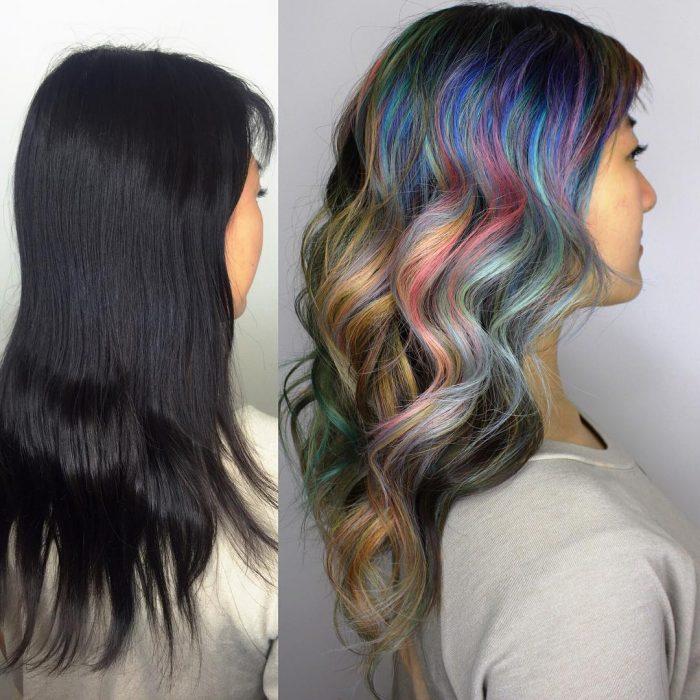 Chica antes y después de una transformación en su cabello de color negro a colores