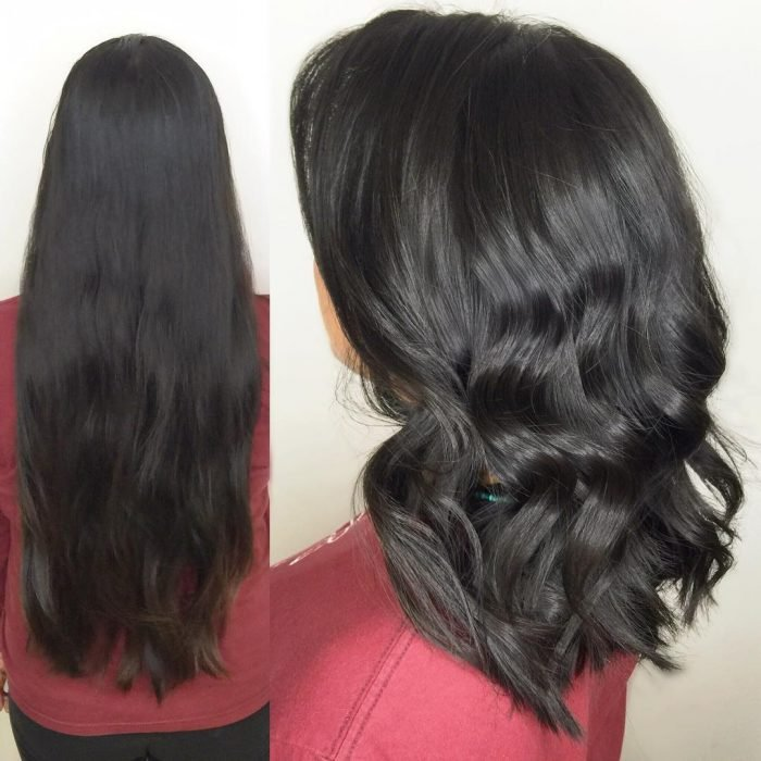 Chica antes y después de una transformación en su cabello de largo y negro a chino y corto