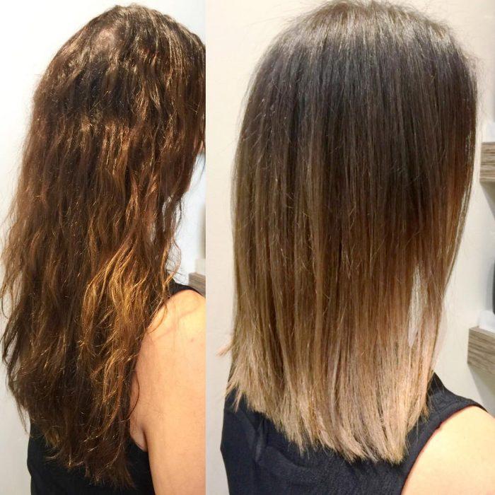 Chica antes y después de una transformación en su cabello de color café y largo a mechas californianas