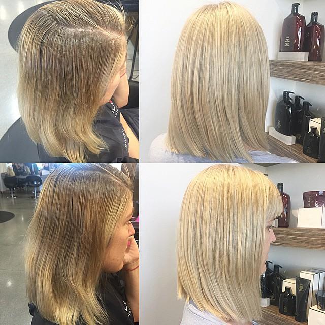 Chica antes y después de una transformación en su cabello de color café a color rubio platinado
