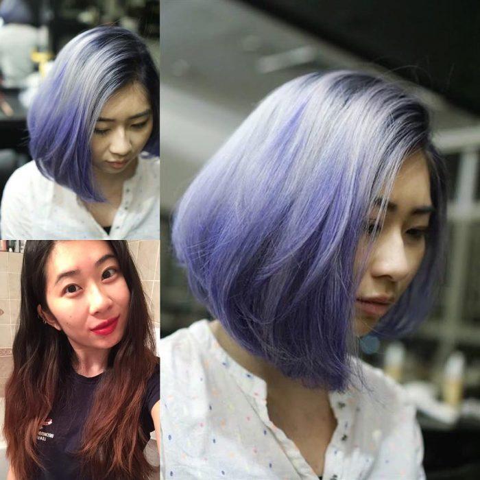 Chica antes y después de una transformación en su cabello de negro a color morado