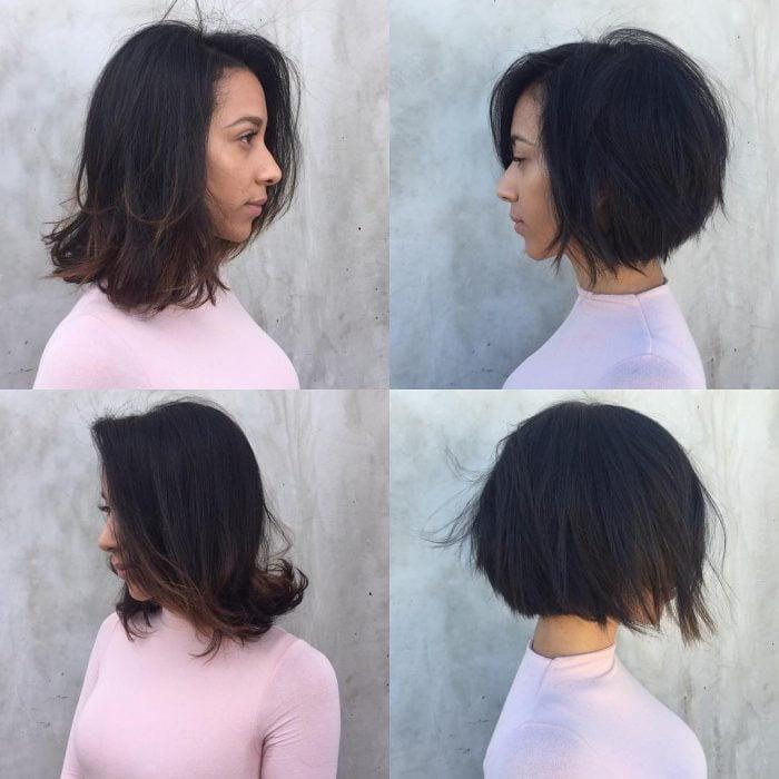 Chica antes y después de una transformación en su cabellode largo en los hombros a largo en la nuca