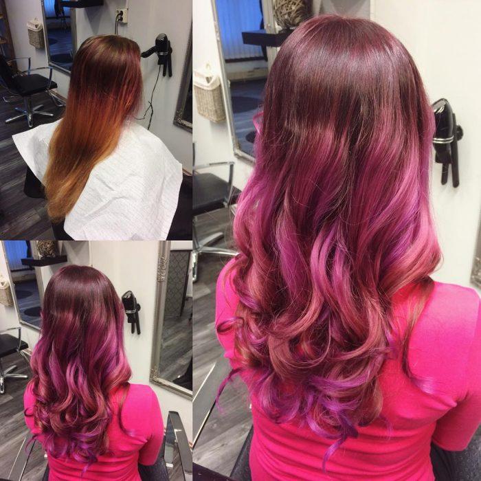 Chica antes y después de una transformación en su cabello de color café a un color rosa profundo