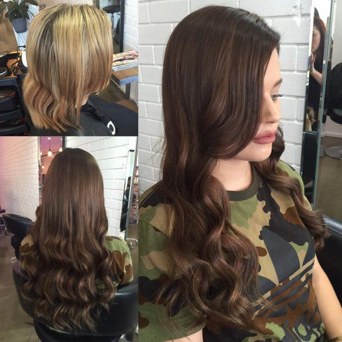 Chica antes y después de una transformación en su cabello de corto y rubio a largo, castaño y ondulado
