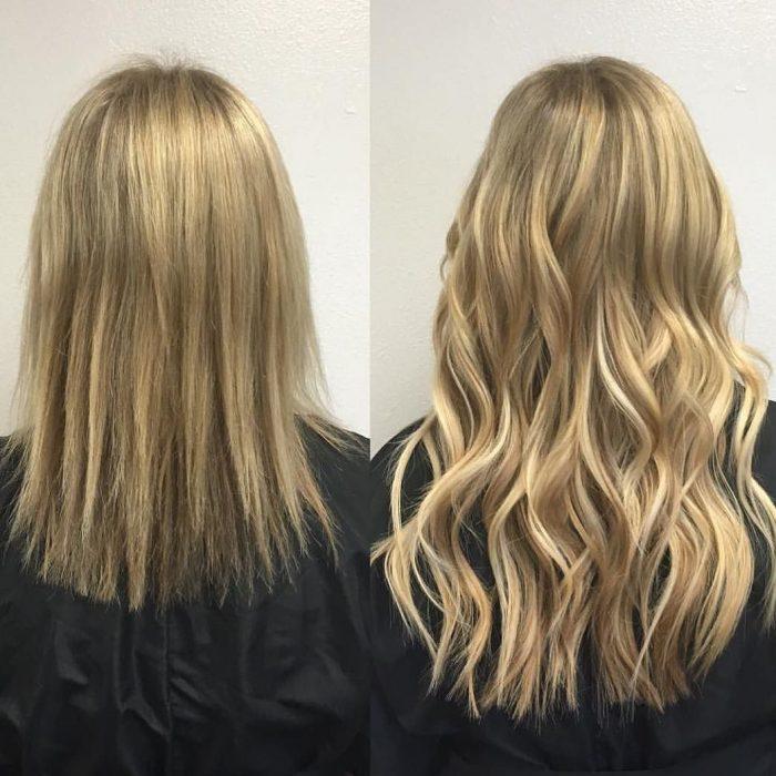 Chica antes y después de una transformación en su cabello de cabello corto y lacio a cabello largo y ondulado