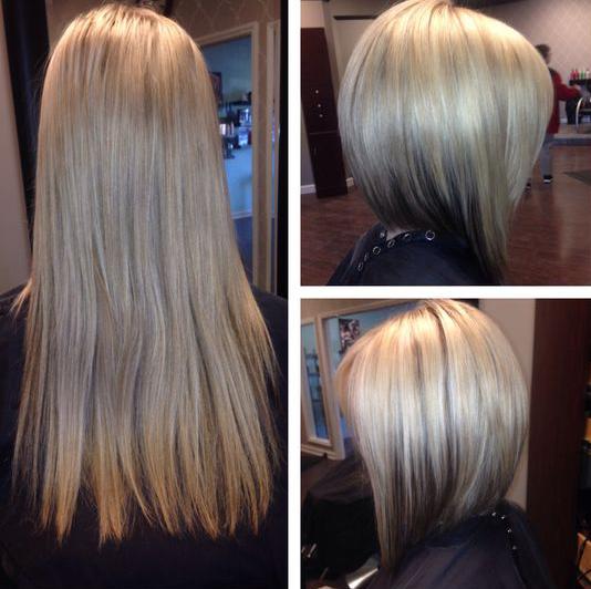 Chica antes y después de una transformación en su cabello de largo a corto