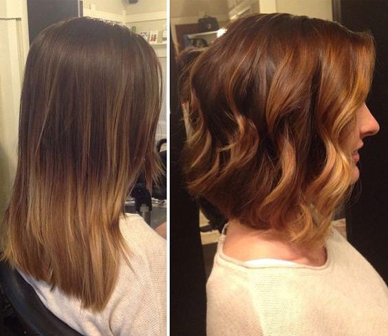 Chica antes y después de una transformación en su cabello de long bob a bob