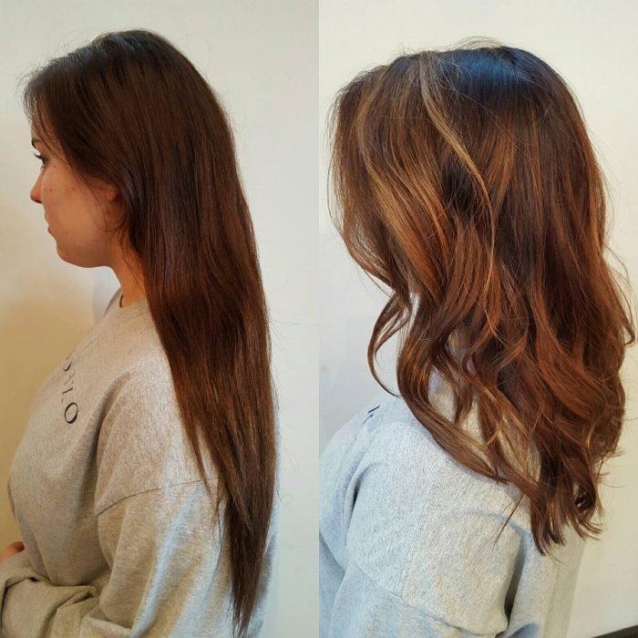 Chica antes y después de una transformación en su cabello de largo y lacio a chino y corto