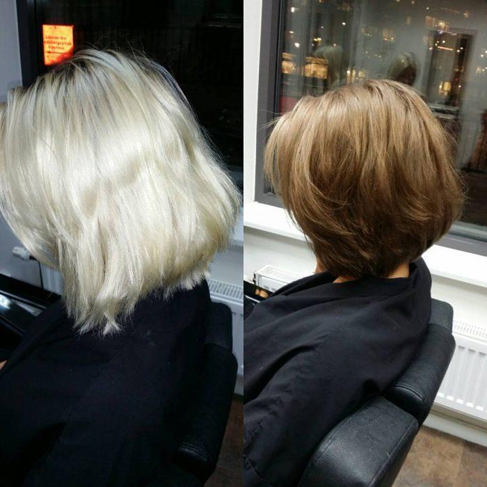 Chica antes y después de una transformación en su cabello de platinado a color café