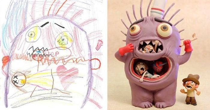 Artista recrea dibujos de monustros hechos por niños