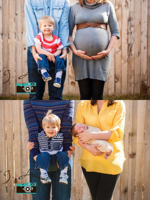 Pareja mostrando el antes y después de su embarazo con su primer y segundo hijo