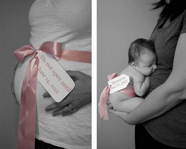 Mujer mostrando el antes y después de su embarazo