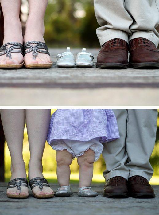 Familia antes y después de tener a su bebé